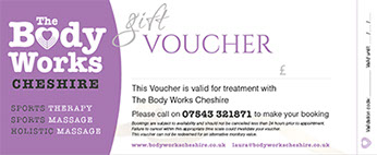 Gift Vouchers from the Body Works Cheshire